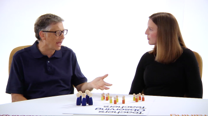 Bill Gates talks to teacher Katie Brown