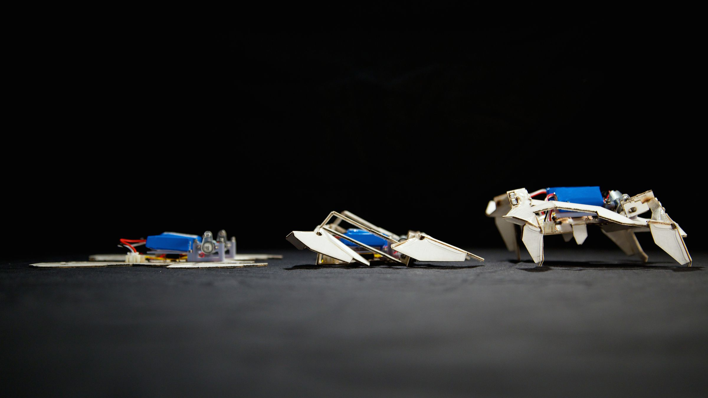 Robot that assembles itself and crawls and turns