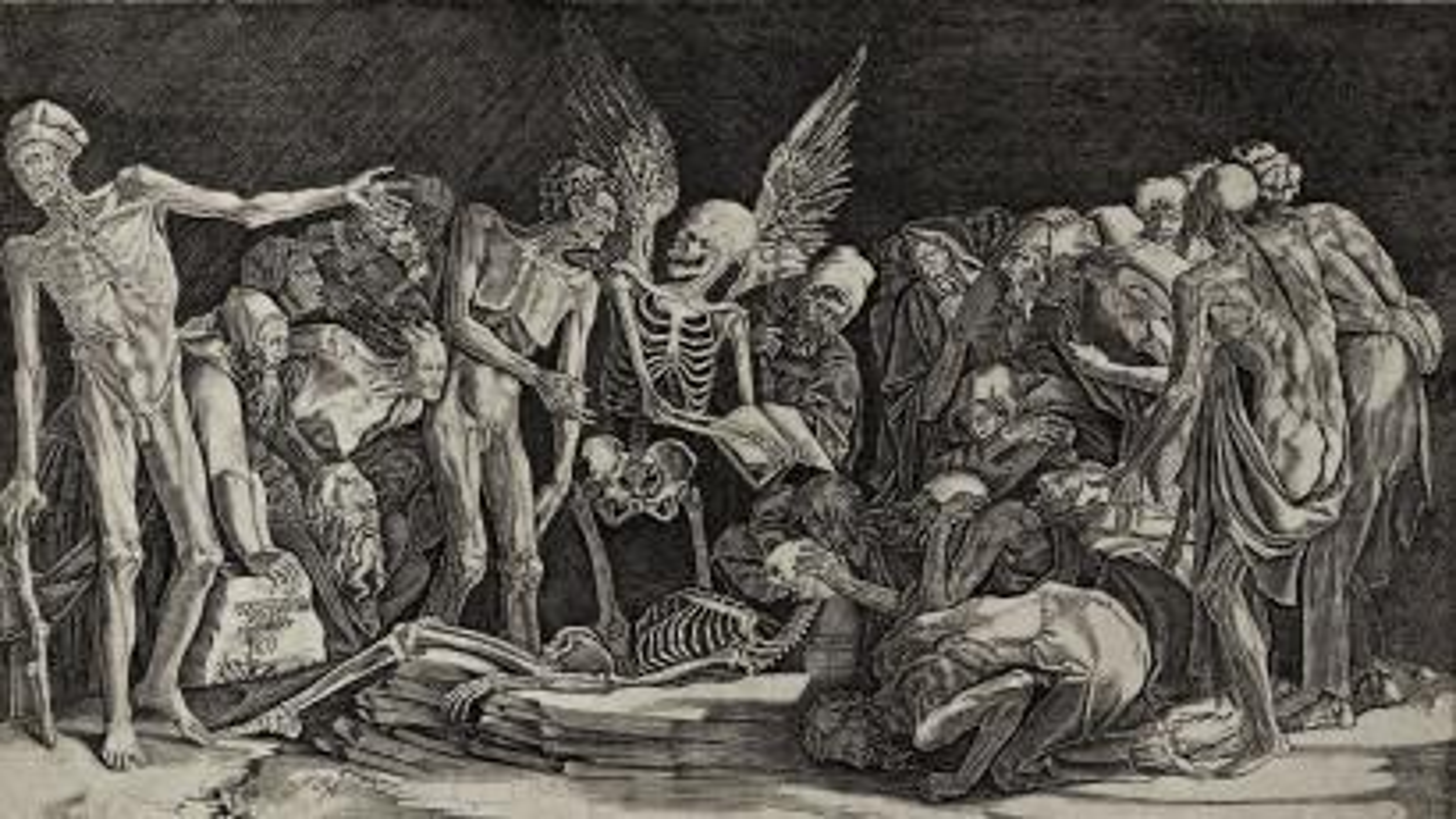 The Skeletons, a 1518 engraving depicting the devil