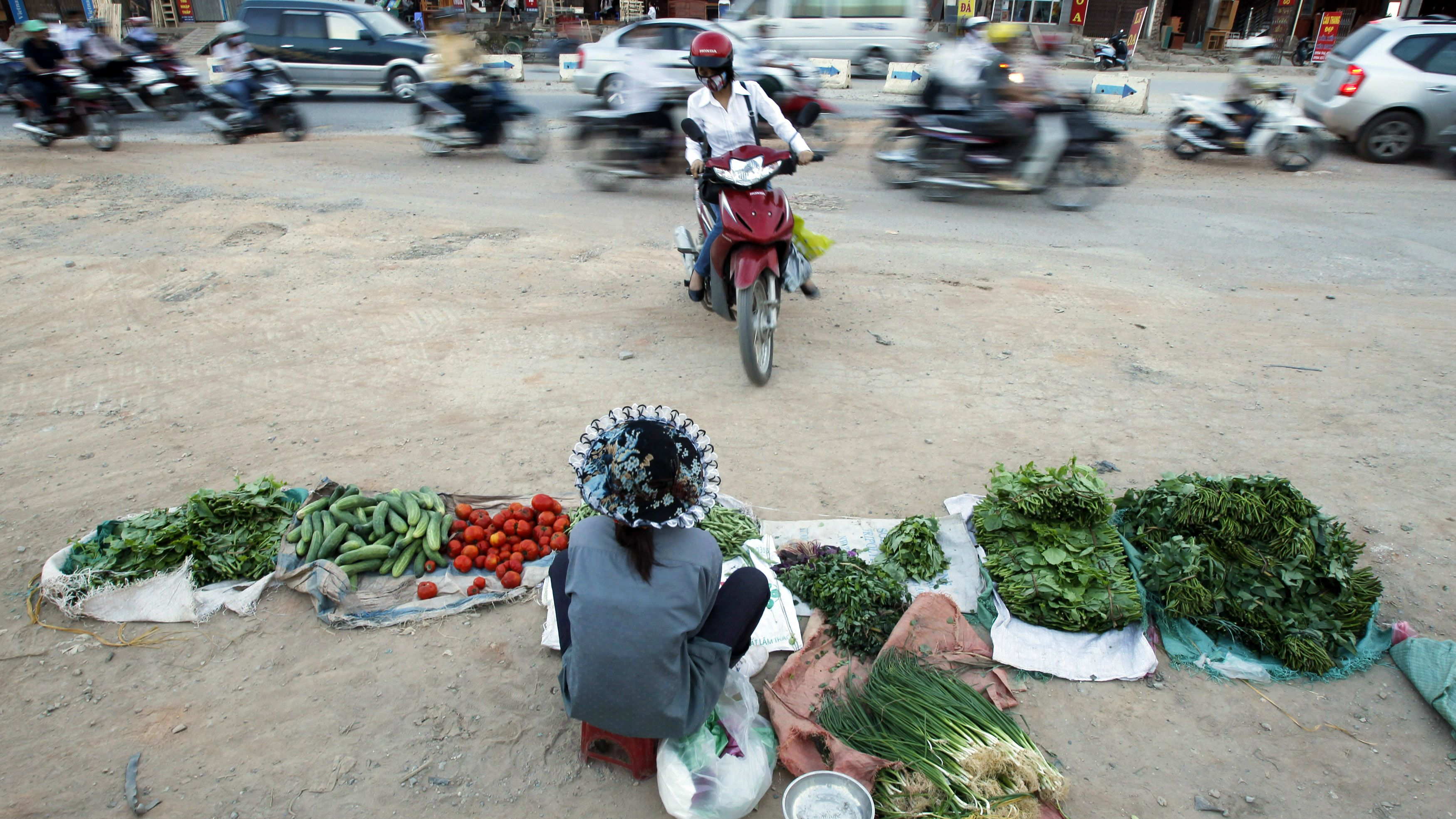 Vegetable seller in Vietnam.
