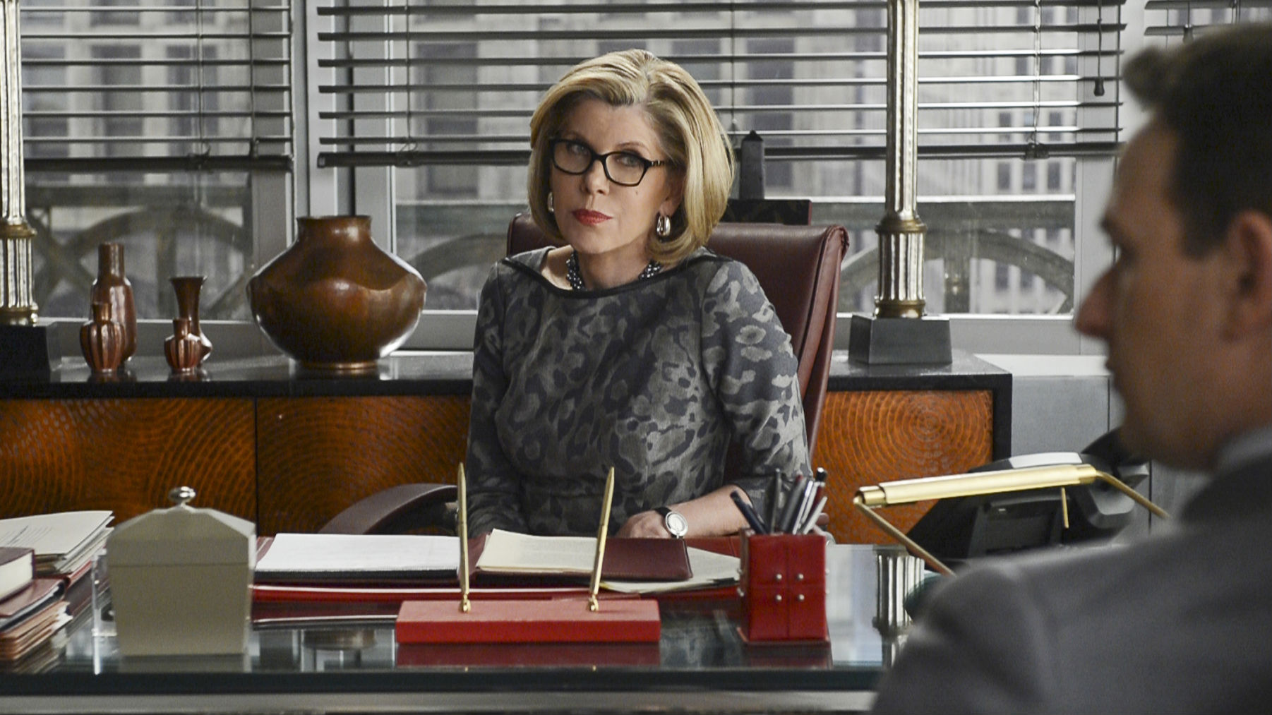 "In this publicity image released by CBS, Christine Baranski is shown in a scene from ""The Good Wife."" Baranski was nominated for an Emmy Award for best supporting actress in a drama series onThursday July 18, 2013. The Academy of Television Arts & Sciences' Emmy ceremony will be hosted by Neil Patrick Harris. It will air Sept. 22 on CBS. (AP Photo/CBS, David Giesbrecht)"