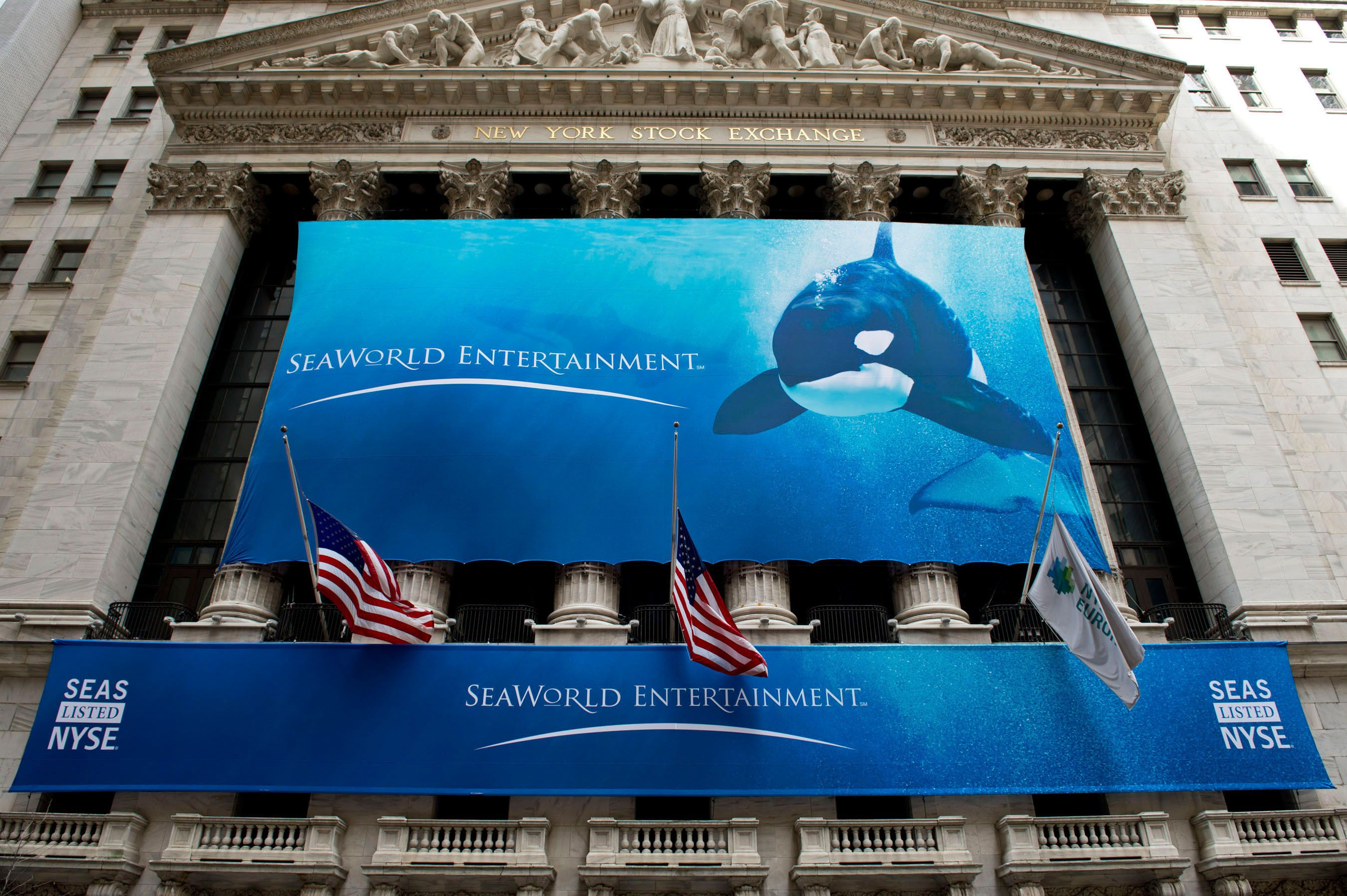 Penguins on Wall Street: SeaWorld Entertainment, Inc. Opened for Trade Today Orlando, Fla.-based SeaWorld Entertainment, Inc., a leading theme park and entertainment company, opened for trading today on the New York Stock Exchange under the ticker symbol SEAS after its initial public offering.  CEO Jim Atchison and the company's leaders rang the NYSE Opening Bell(R) and brought the experience of its theme parks to the NYSE as SeaWorld performers, penguins, otters and a lemur paraded across the trading floor.  (PRNewsFoto/SeaWorld Entertainment, Inc.) THIS CONTENT IS PROVIDED BY PRNewsfoto and is for EDITORIAL USE ONLY**