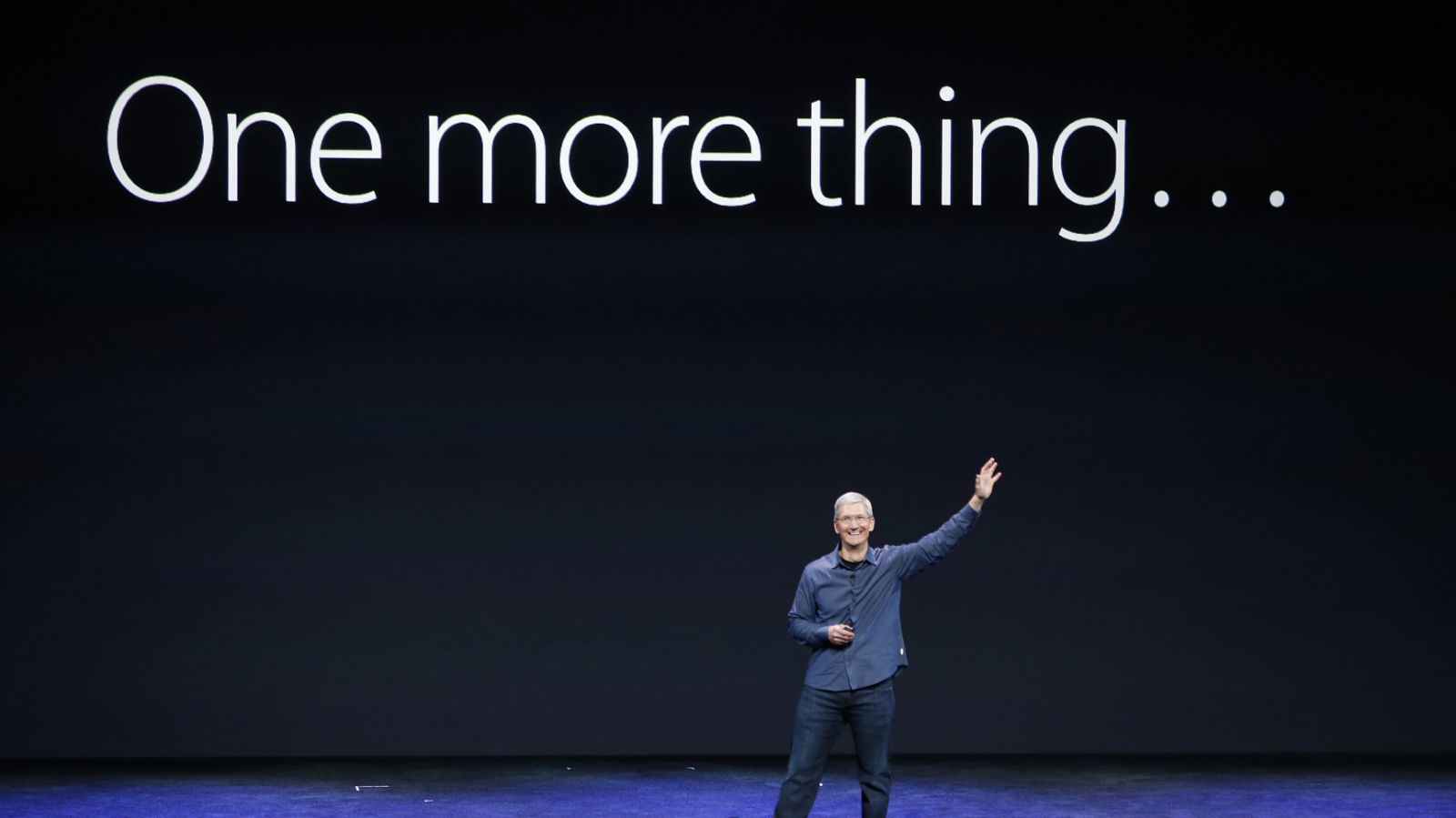 Apple CEO Tim Cook speaks on stage during an Apple event at the Flint Center in Cupertino, California, September 9, 2014.