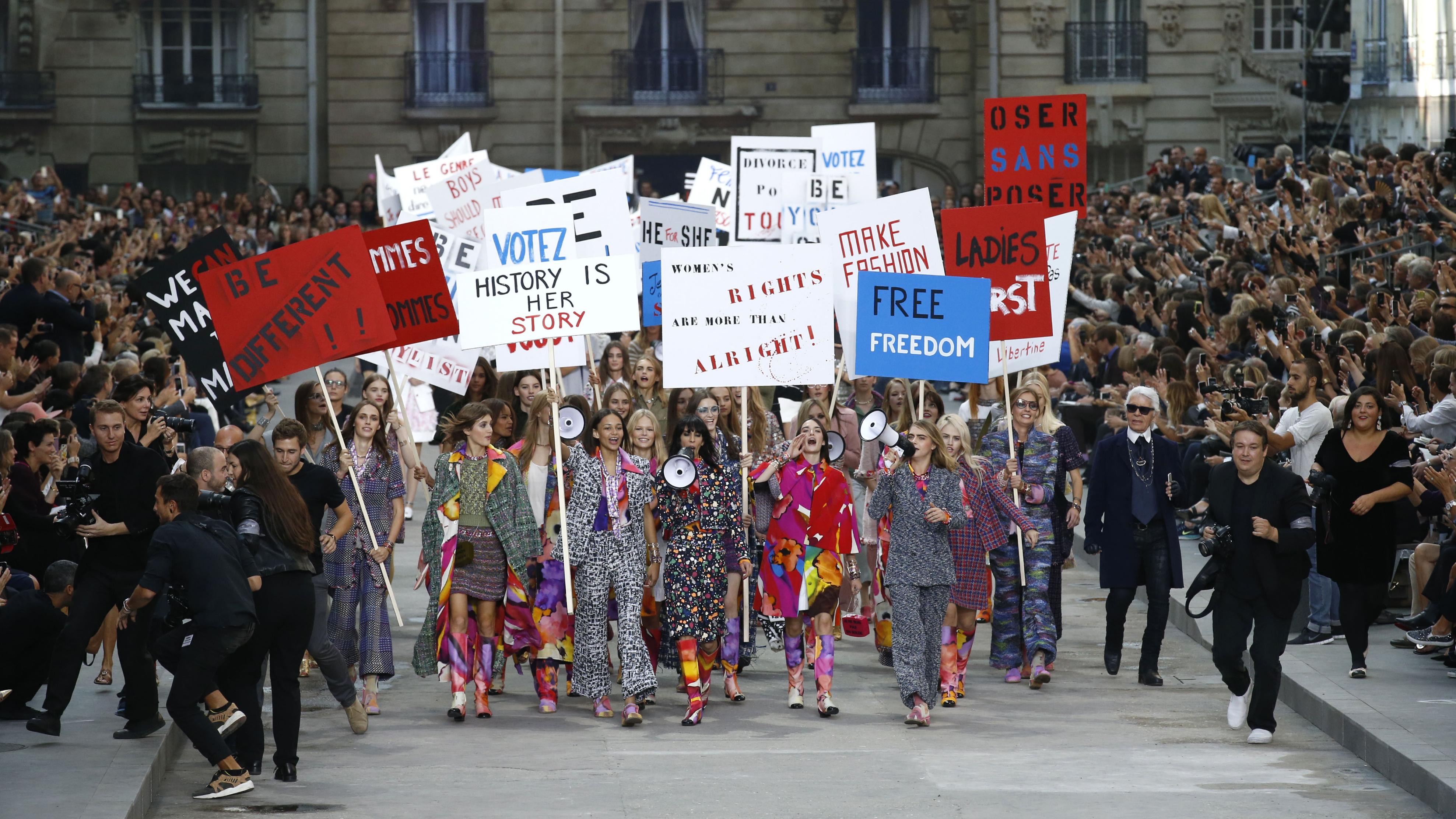 chanel spring 2015 paris fashion week protest