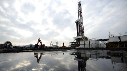 fracking hydraulic fracturing water A natural gas appraisal well of Sinopec is seen behind a treatment pond of drilling waste in Langzhong county, Sichuan province March 1, 2011. China, which has by far the world's largest shale deposits, has just started to exploit this source of unconventional natural gas, as it tries to cut costly foreign oil and gas imports. Picture taken March 1, 2011. To match Special Report CHINA-SHALE/ REUTERS/Stringer