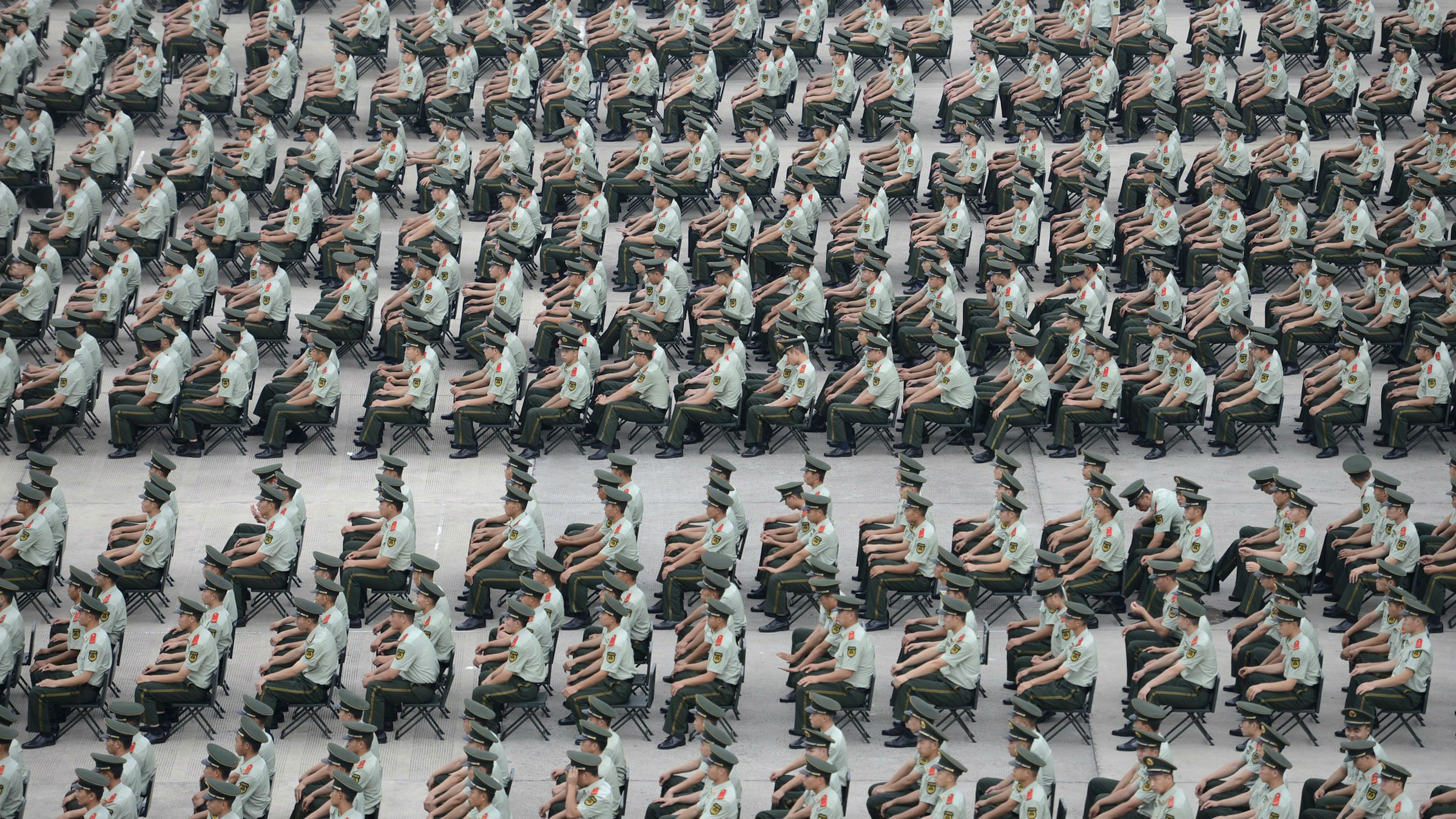More than 1,000 Paramilitary policemen take part in an exercise in Nanjing, Jiangsu province, September