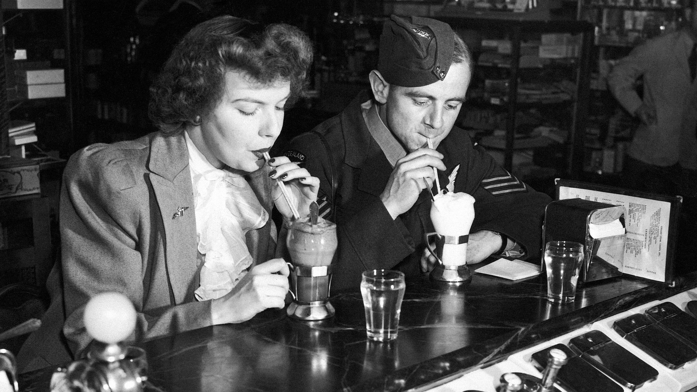 Couple at ice cream parlor
