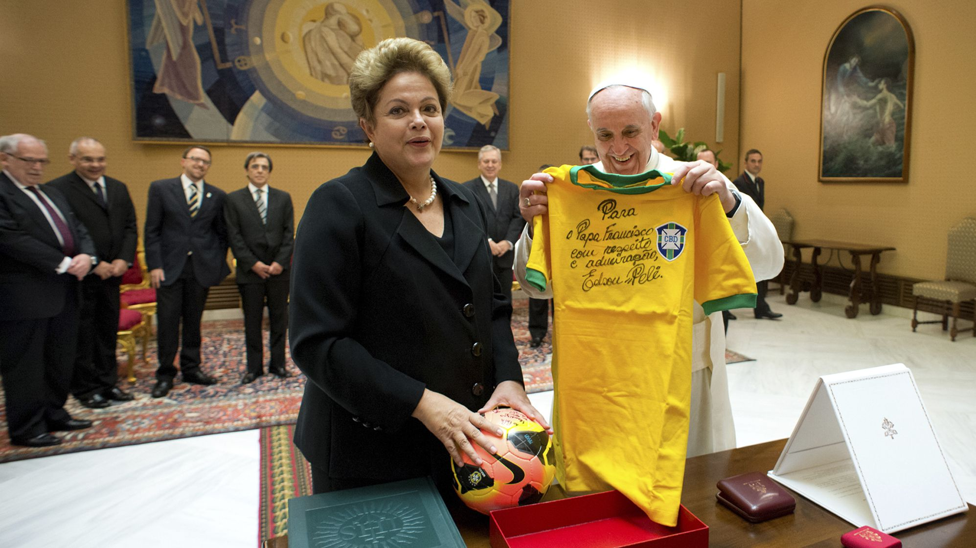 Brazilian President Dilma Rousseff and Pope Francis
