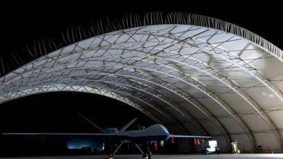 A U.S. Air Force MQ-9 Reaper unmanned aerial vehicle sits in a shelter at Joint Base Balad, Iraq in this October 15, 2008 USAF handout photo obtained by Reuters February 6, 2013. Larger and more powerful than the MQ-1 Predator, the Reaper can carry up to 3,750 pounds of laser-guided bombs and Hellfire missiles.