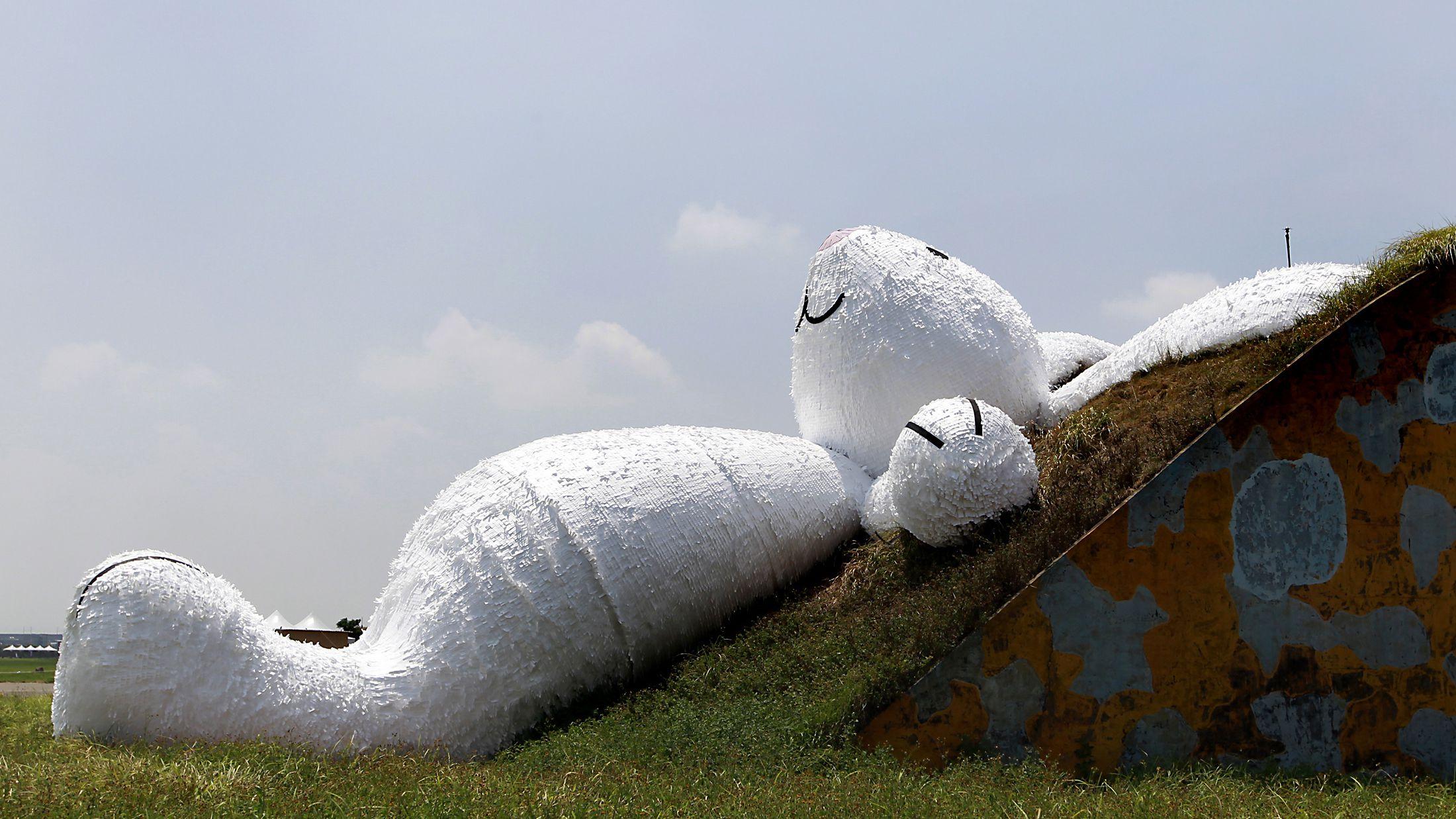 Florentijn Hofman's giant rabbit art installation in Taiwan.
