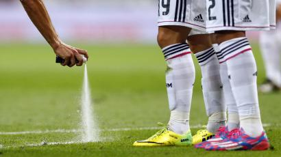 9-15 spray being used by a referee during the World Cup