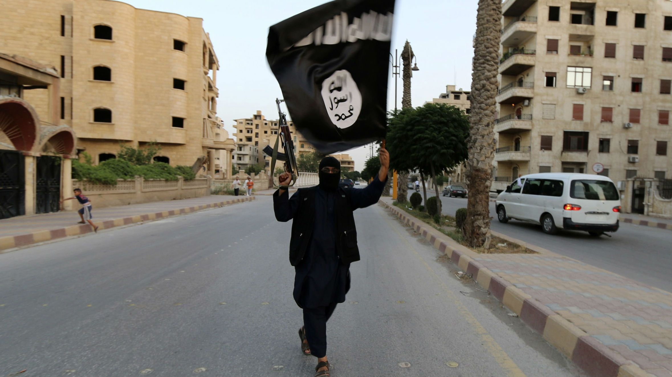 A supporter of the Islamic State also known as ISIL in Raqqa, Syria in June.
