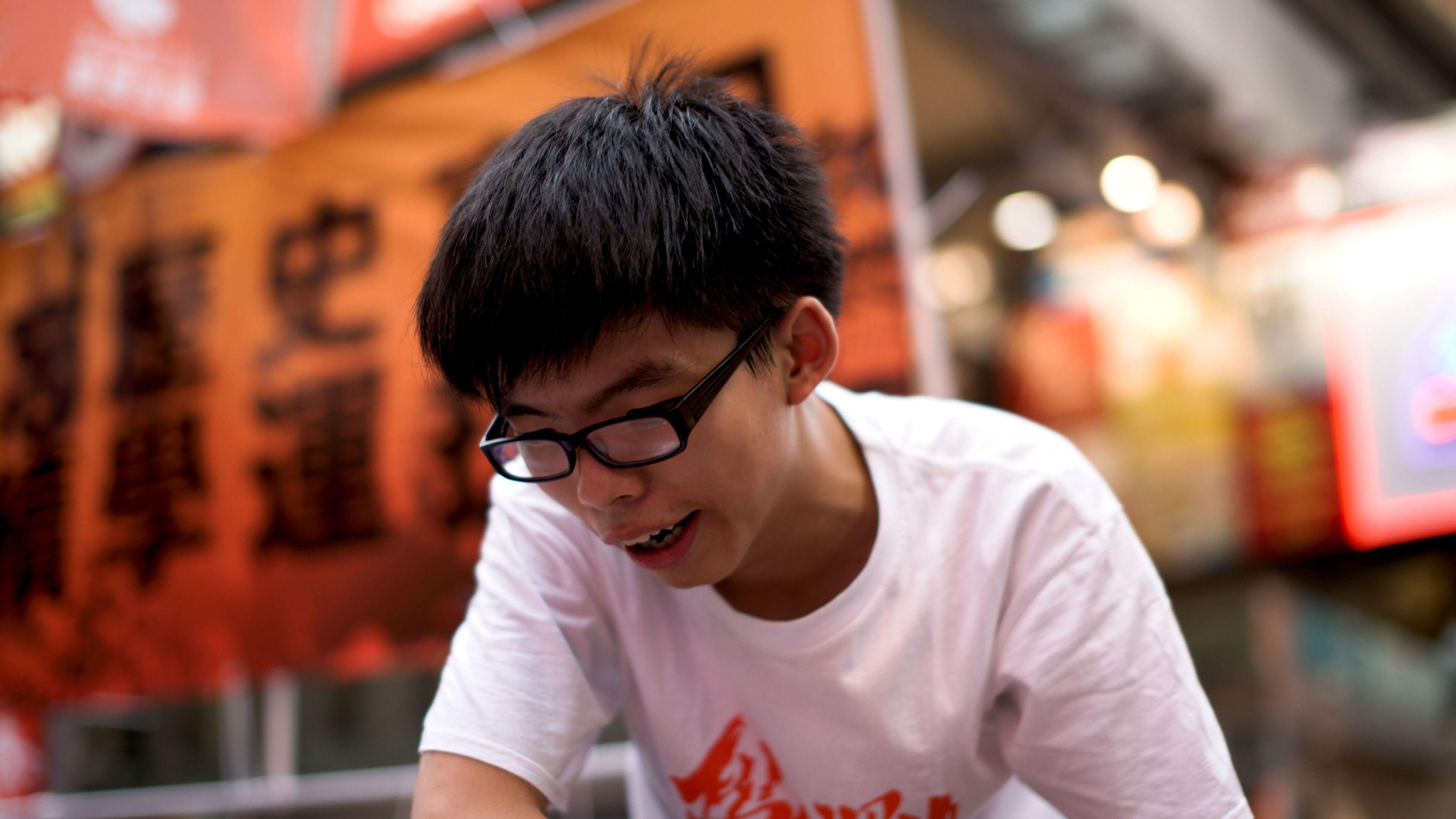 joshua wong hong kong china protests demonstrations umbrella democracy universal suffrage