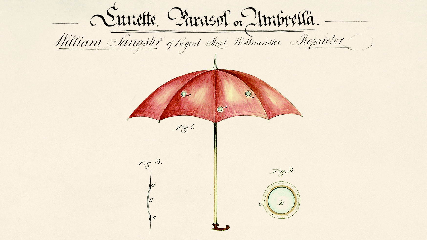 Design drawing of an umbrella with peepholes