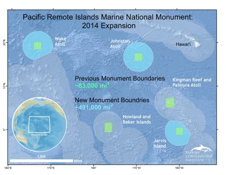 map of President Obama's Pacific Remote Islands Marine National Monument expansion