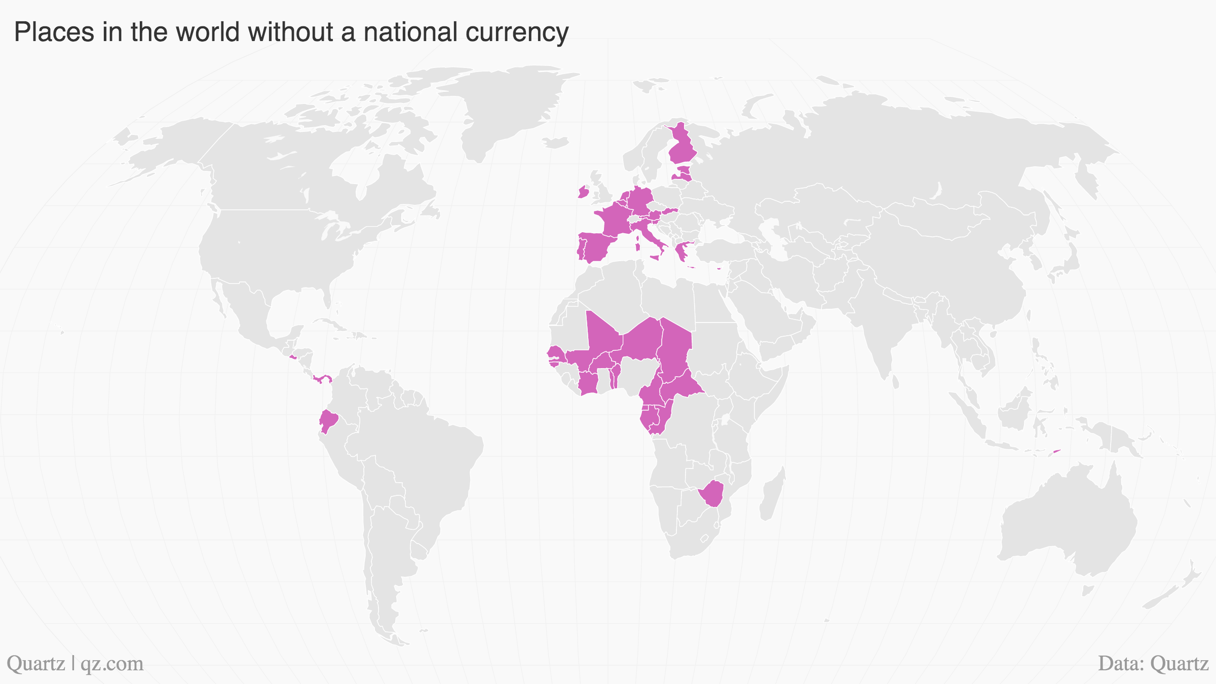 Here are all the countries that don't have a currency of