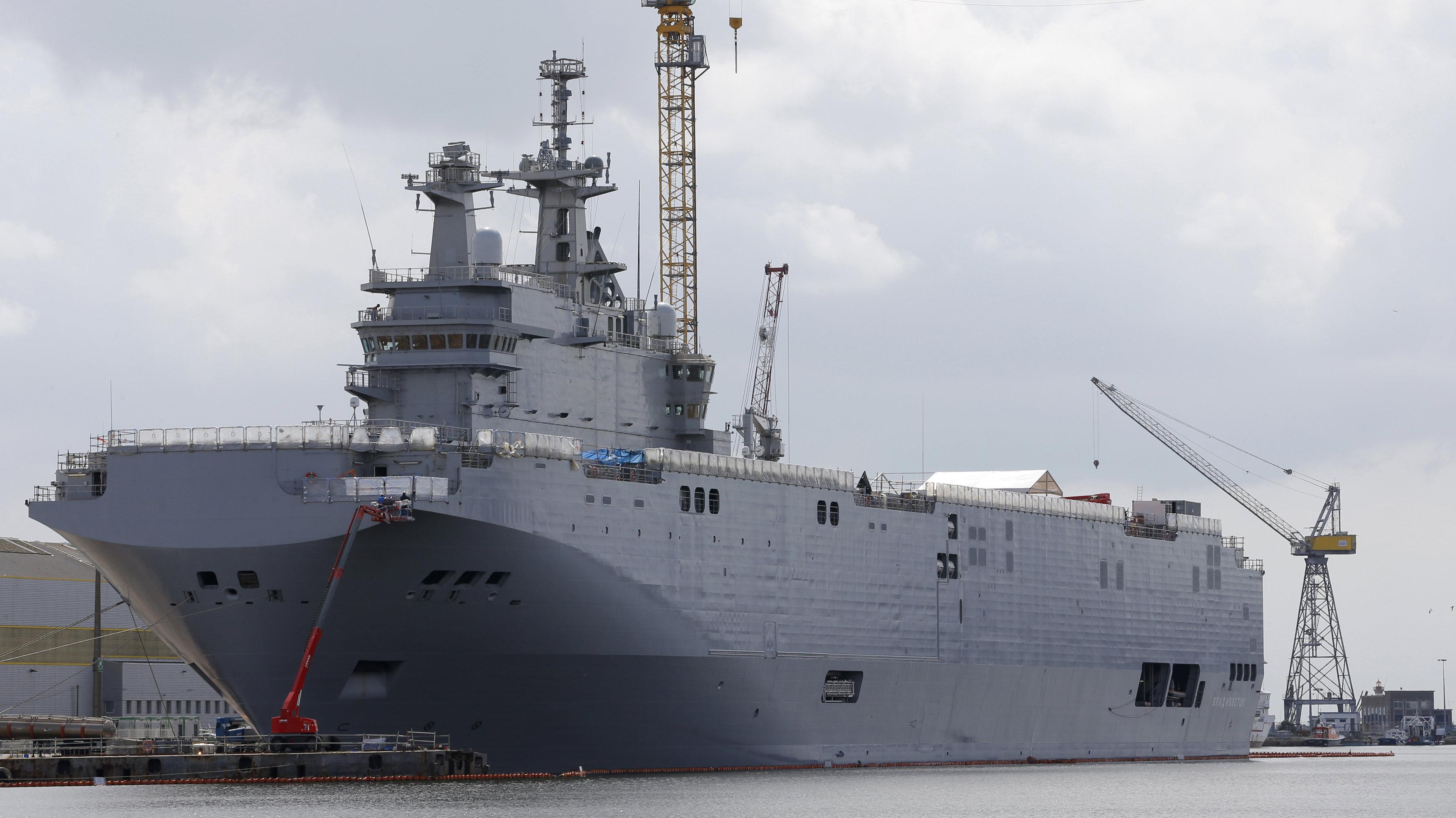 The Mistral-class helicopter carrier Vladivostok is seen at the STX Les Chantiers de l'Atlantique shipyard site in Saint-Nazaire, western France.