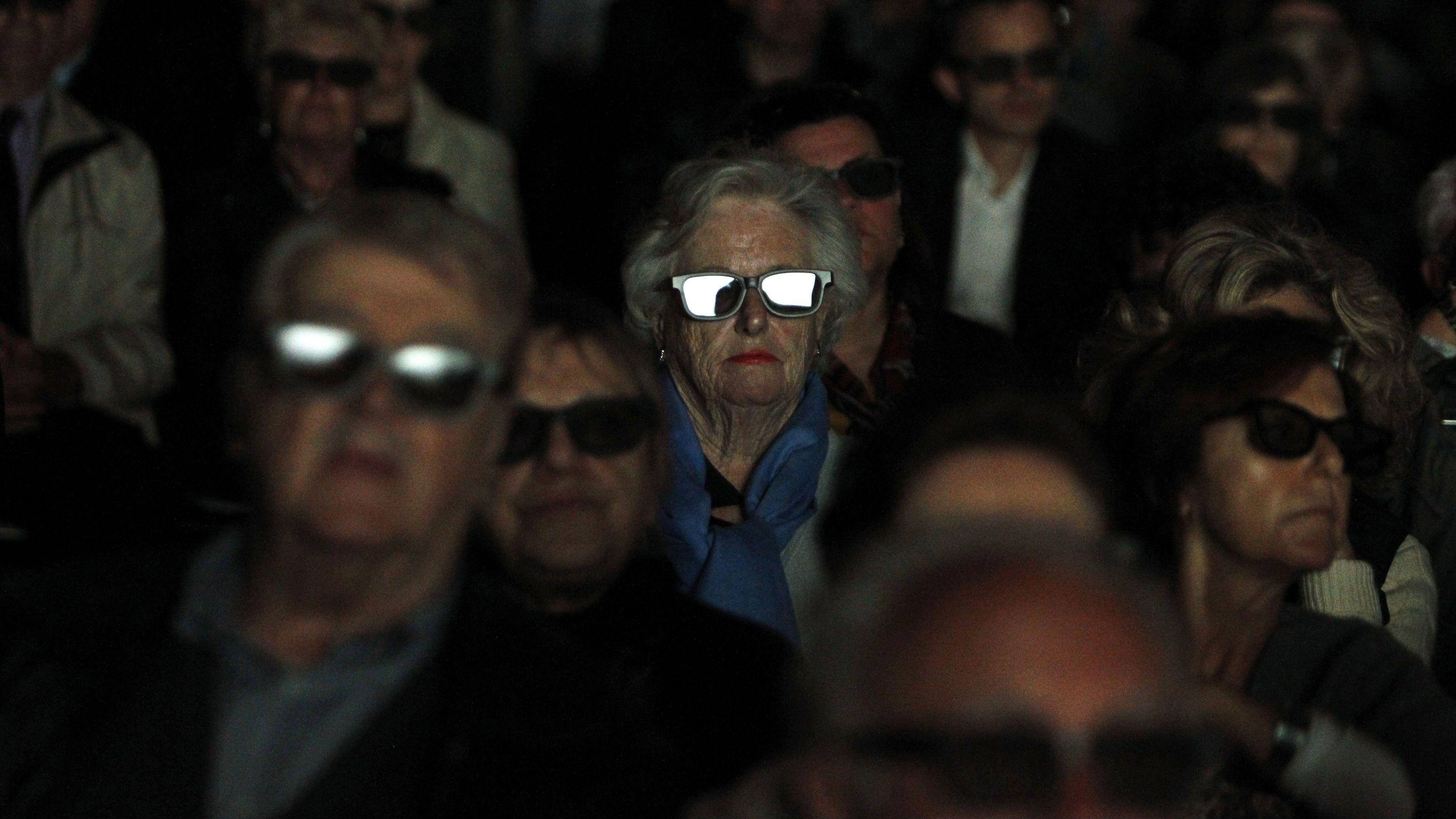 Elderly people in a cinema