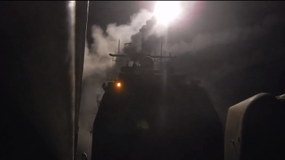 A Tomahawk missile fired from the USS Philippine Sea on Sept. 23, 2014.