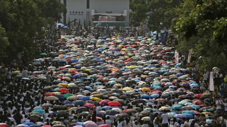 Students from various universities take part in a demonstration at the Chinese University in Hong Kong September 22, 2014.