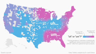 Map showing usage of um and uh