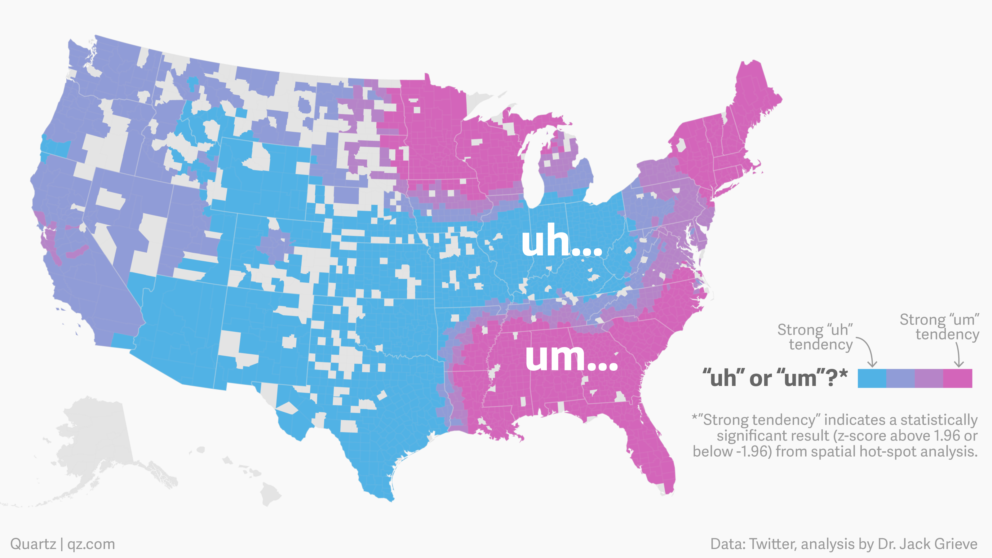 "Um, here\'s an, uh, map that shows where Americans use ""um"" vs. ""uh ..."