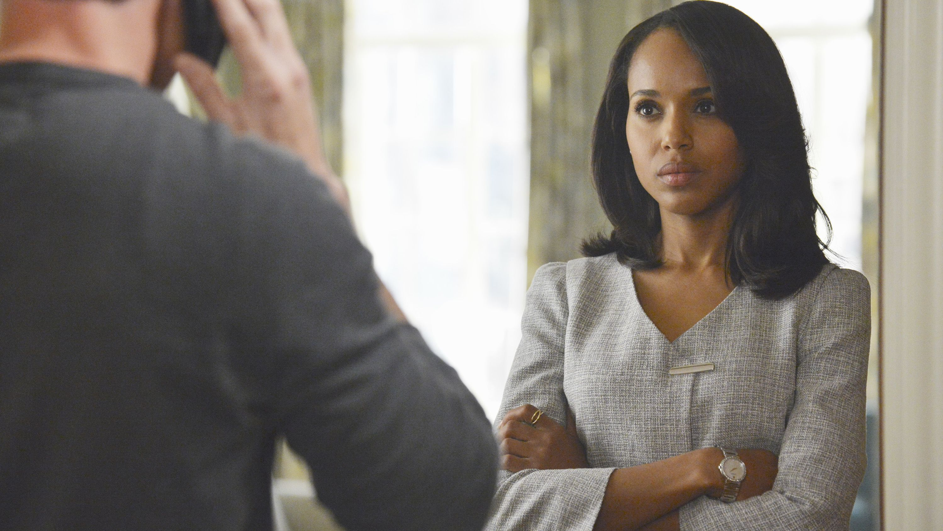 "This publicity image released by ABC shows Kerry Washington is in scene from ""Scandal."" Washington was nominated for a Golden Globe for best actress in a drama series for her role as Olivia Pope on Thursday, Dec. 12, 2013.  The 71st annual Golden Globes will air on Sunday, Jan. 12. (AP Photo/ABC, Eric McCandless)"