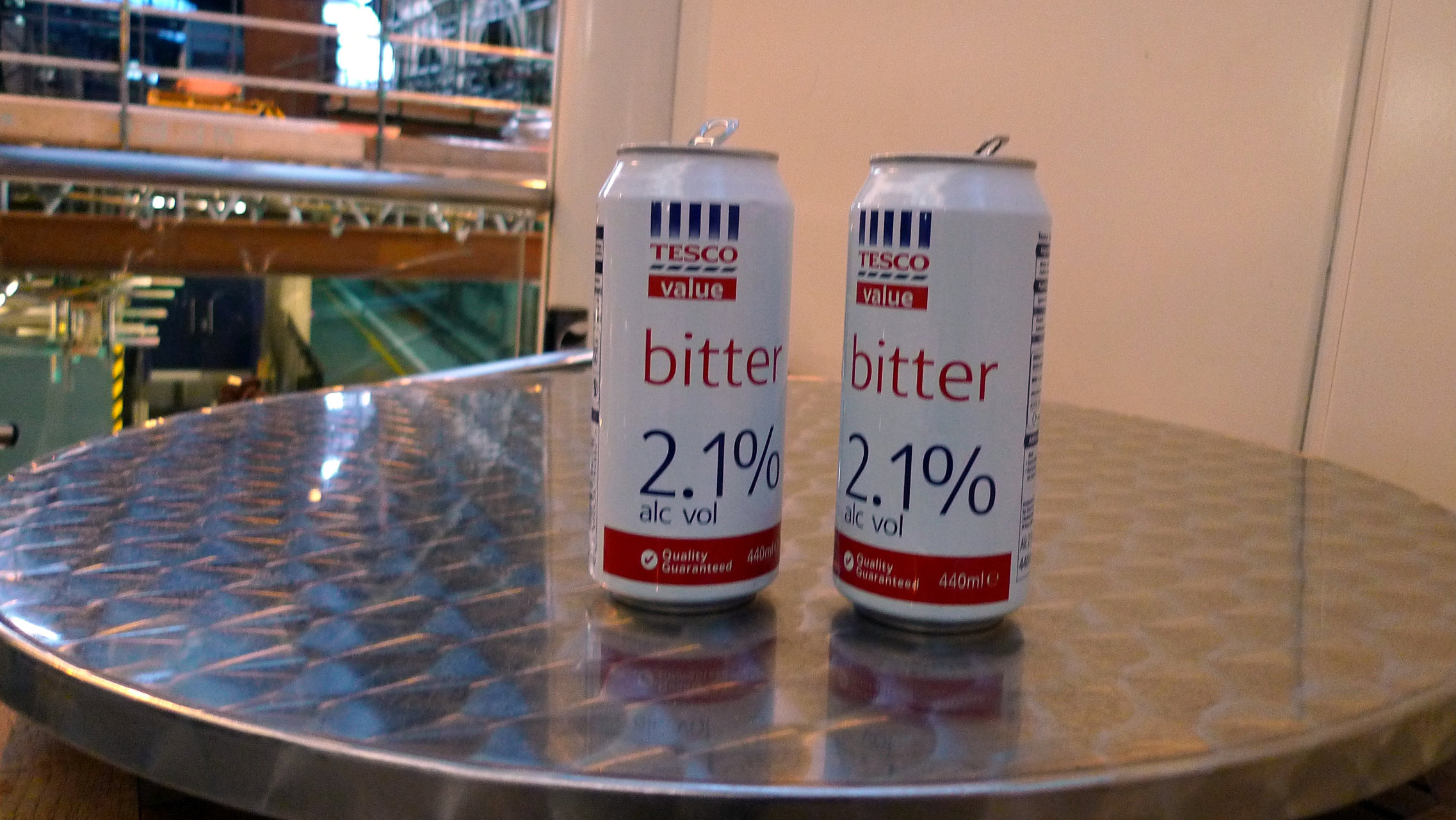 Cans of Tesco Value bitter beer.