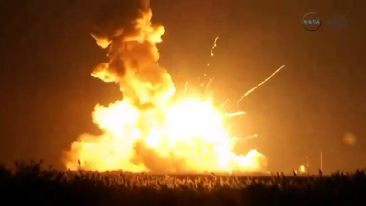 An unmanned Antares rocket is seen exploding seconds after lift off from a commercial launch pad in this still image from NASA video at Wallops Island, Virginia October 28, 2014. The 14-story rocket, built and launched by Orbital Sciences Corp, bolted off its seaside launch pad at the Wallops Flight Facility at 6:22 p.m. EDT/2222 GMT. It exploded seconds later. The cause of the accident was not immediately available.