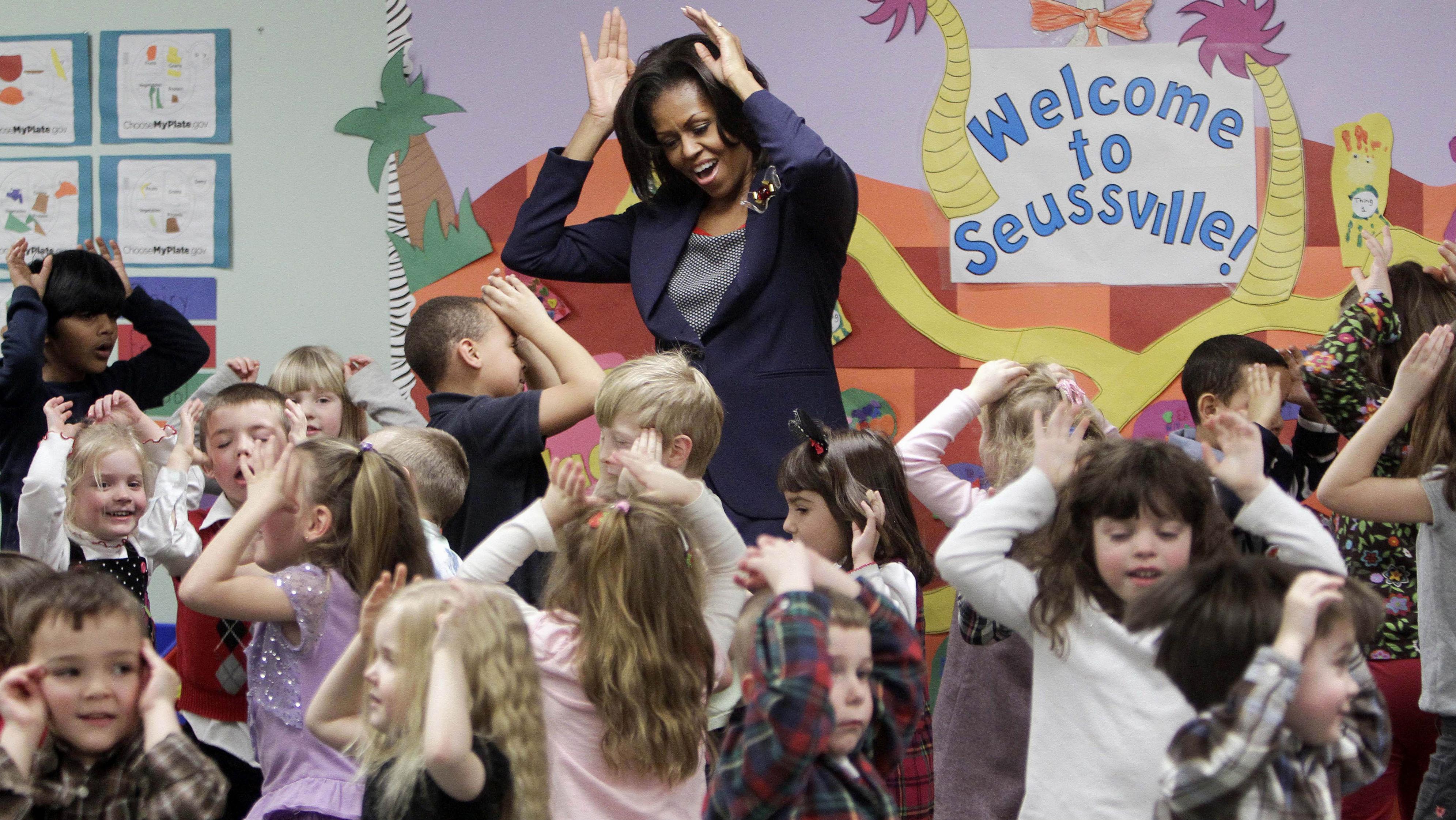Michelle Obama at a kindergarten