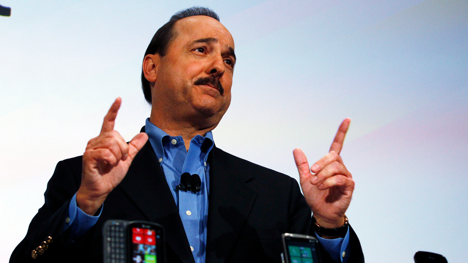 President & CEO of AT&T Mobility and Consumer Markets Ralph de la Vega speaks during the Windows Phone 7 launch in New York, October 11, 2010.