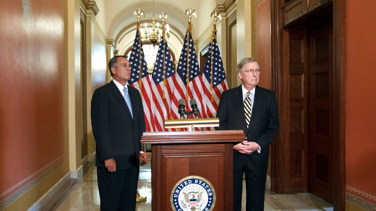 House Speaker John Boehner, R-Ohio, left, and Senate Minority Leader Mitch McConnell, R-Ky., the top two Republicans in Congress, talk about their lunch meeting with President Obama to discuss rising gasoline prices, at a news conference at the Capitol in Washington, Feb. 29, 2012.