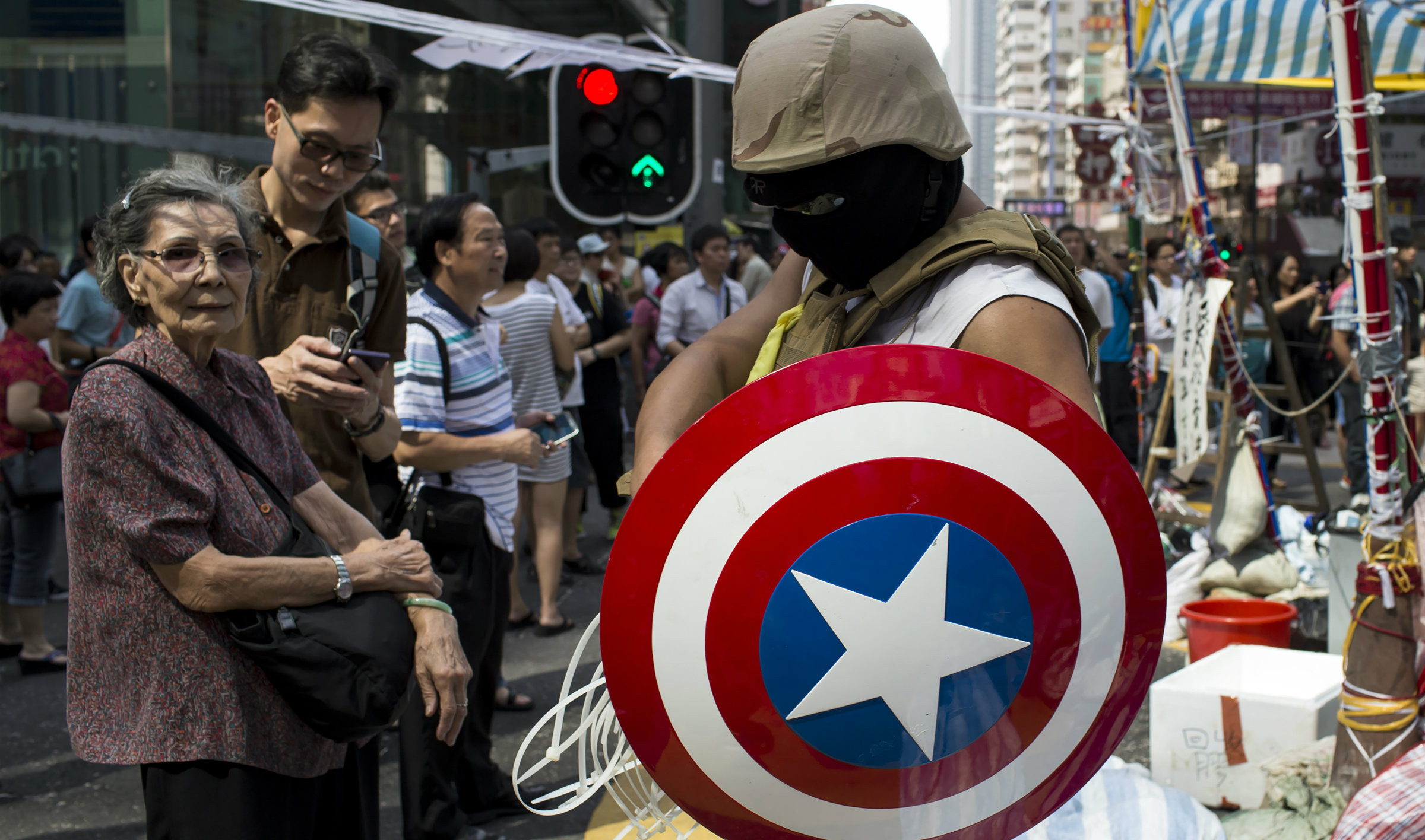 A man dressed as Captain America at the Hong Kong protests