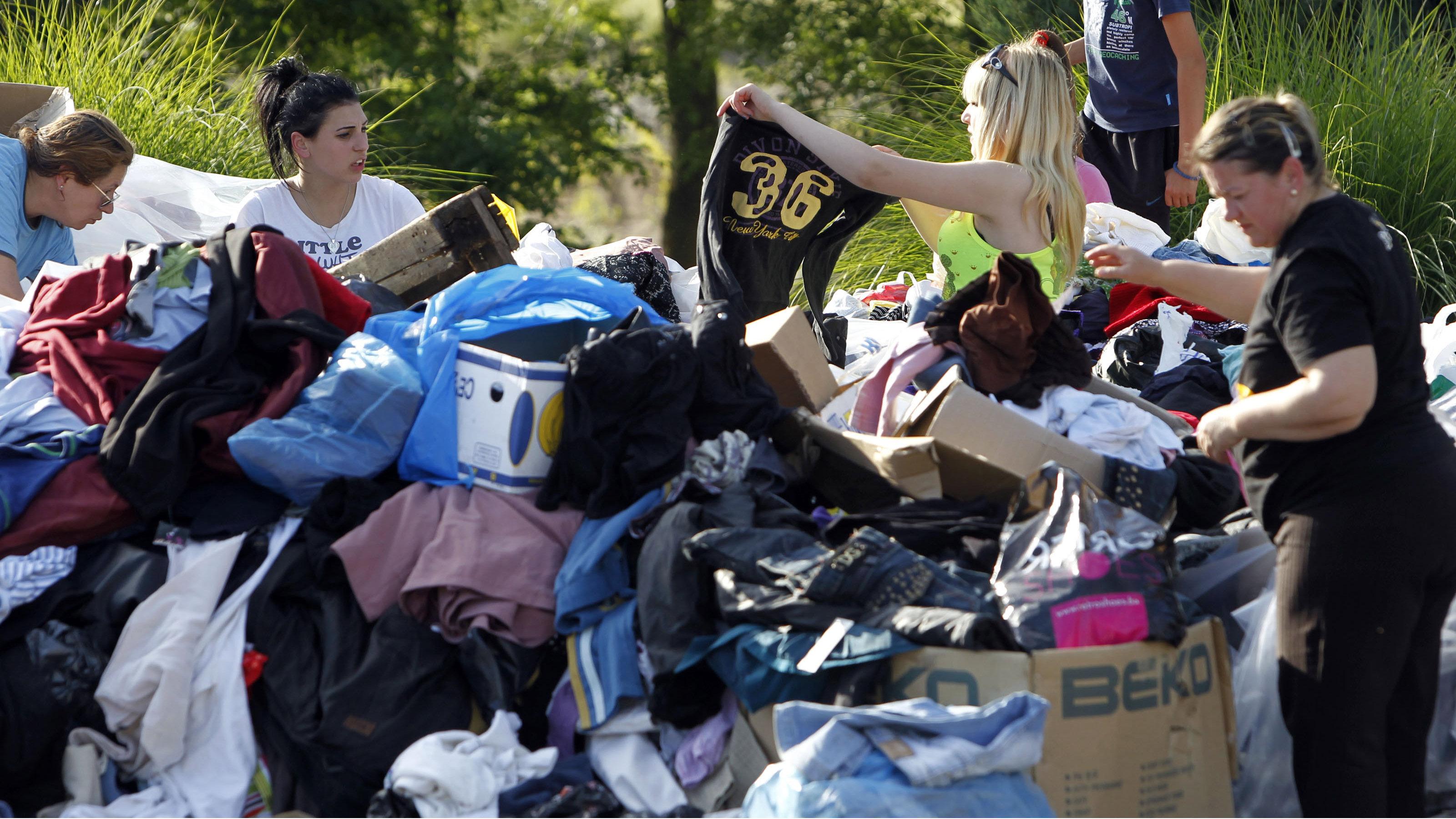 Clothing donation pile