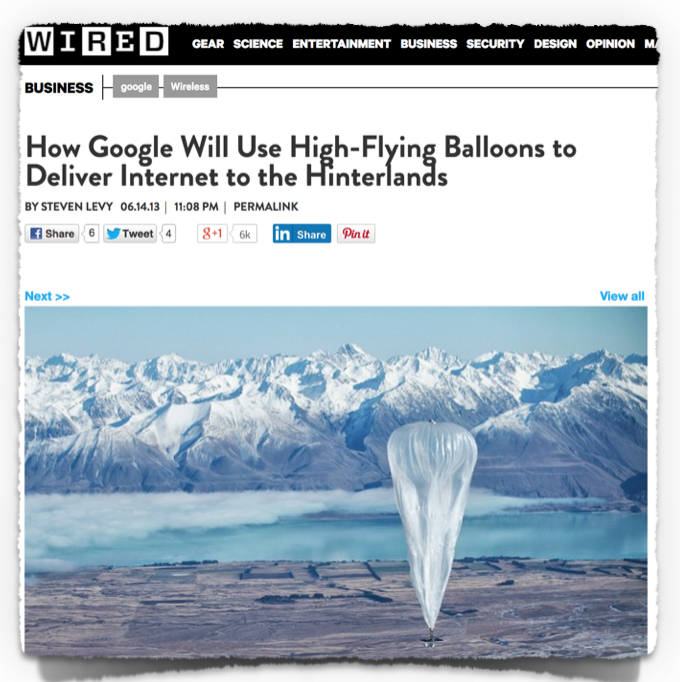 Wired Google balloons