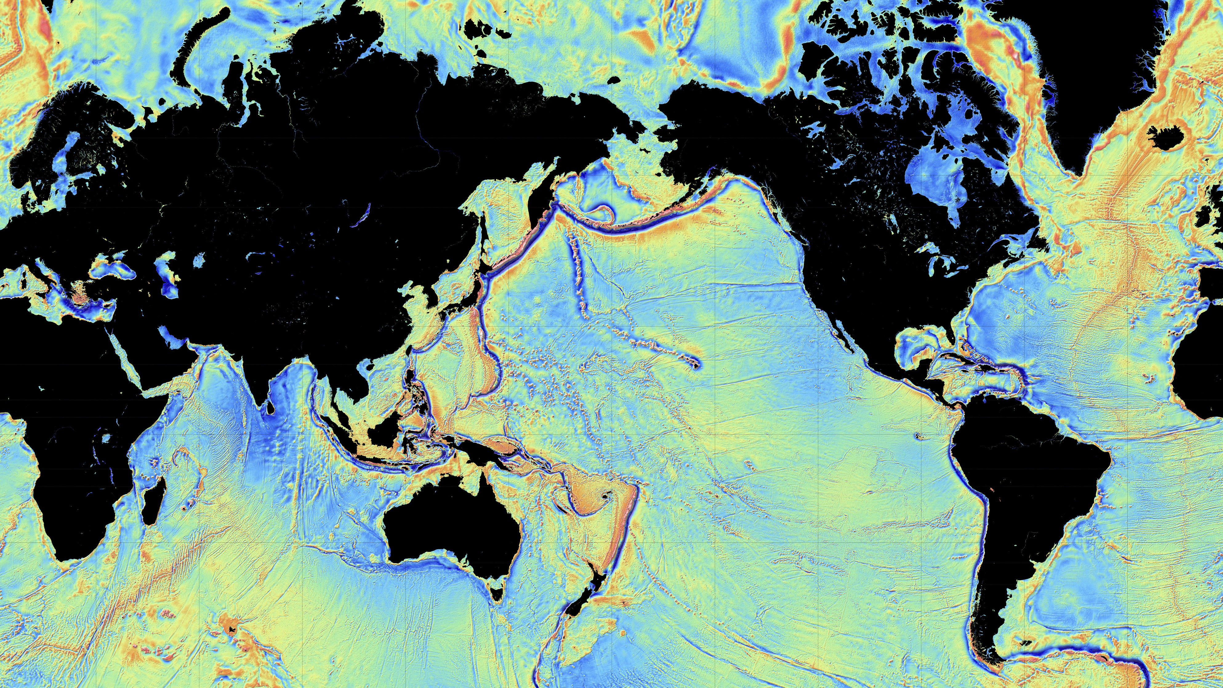 Amazing new maps of the ocean floor quartz gravity map of ocean colors map gravitational pulls of areas gumiabroncs Image collections