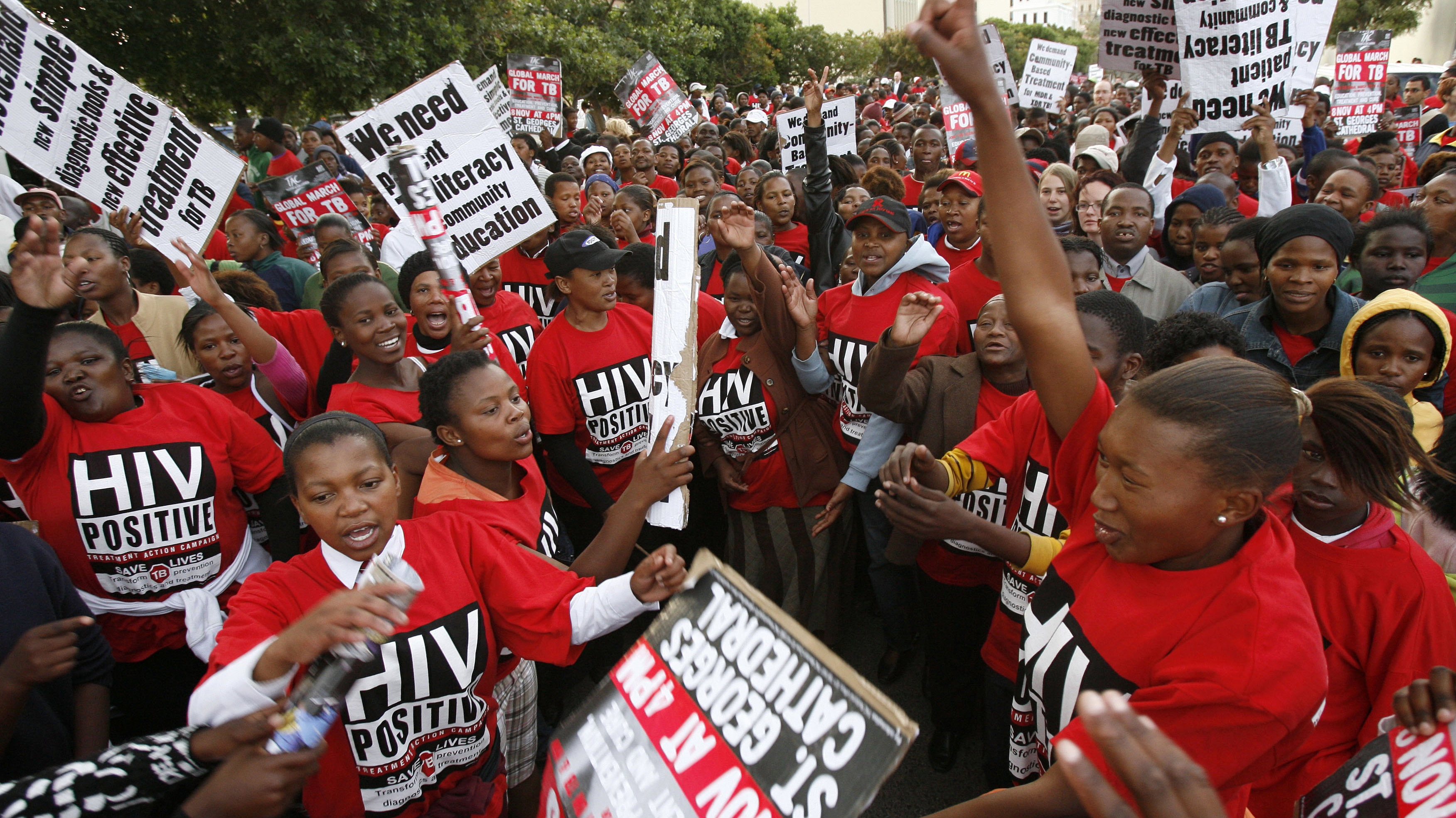 Demonstrators march through the streets of Cape Town to highlight the need for new strategies and medicines to curb the spread of tuberculosis November 8, 2007. The world is at risk of a tuberculosis crisis if killer drug-resistant strains of the disease are not contained, a senior World Health Organisation official warned on Thursday.