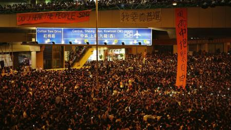 Protesters on the main street to Hong Kong's financial district, outside the government headquarters on Sept. 29, 2014.