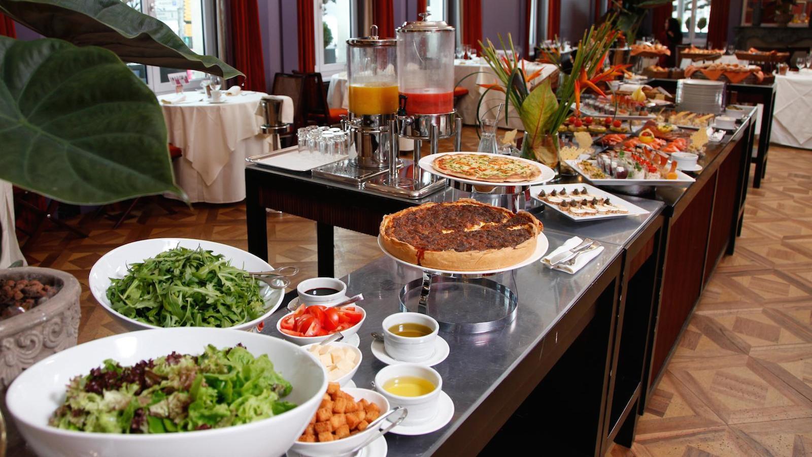 A hotel breakfast buffet.