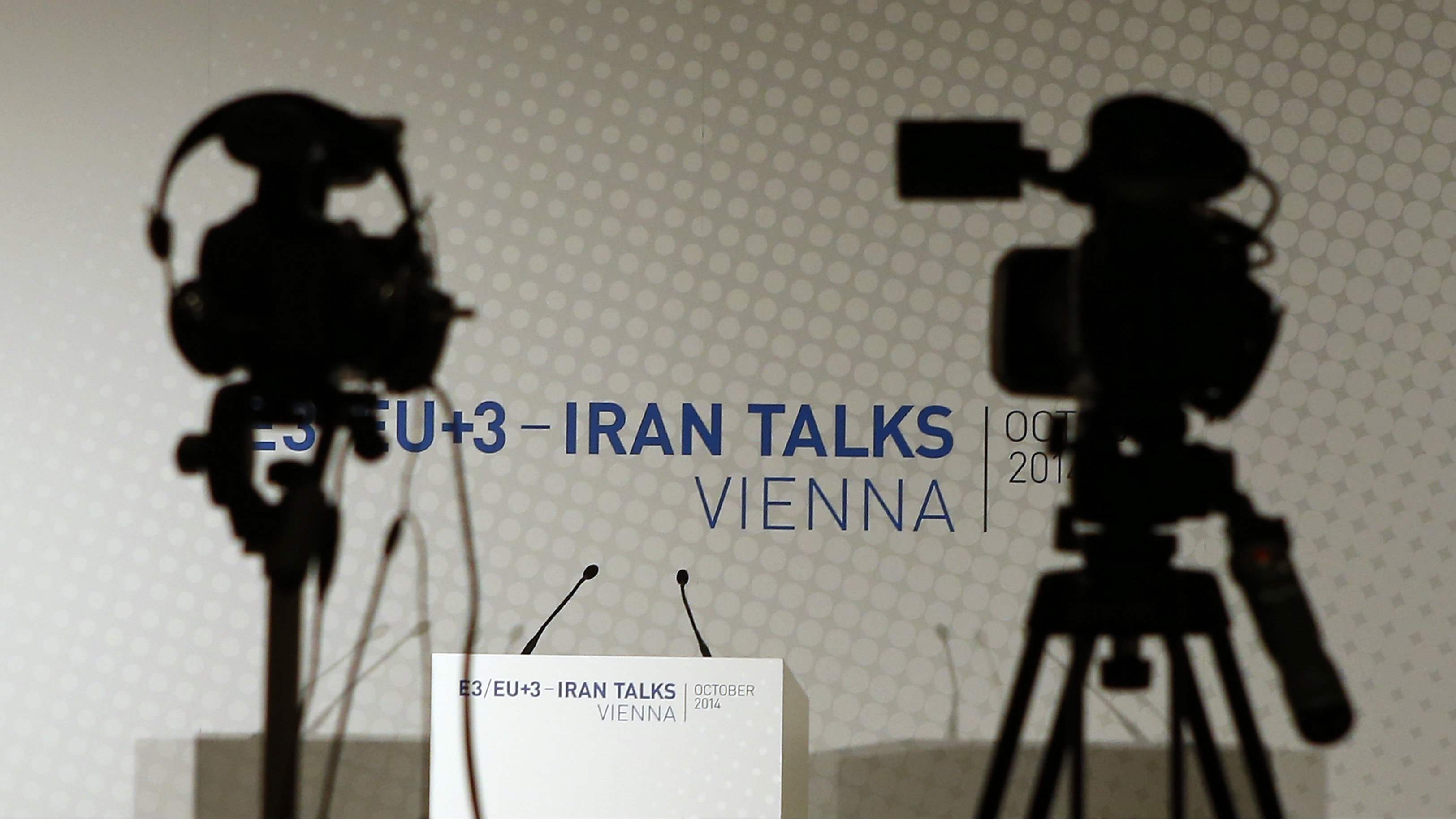 Video cameras are set up for a news conference prior to a meeting between EU foreign policy chief Catherine Ashton and Iranian Foreign Minister Mohammad Javad Zarif in Vienna October 14, 2014.