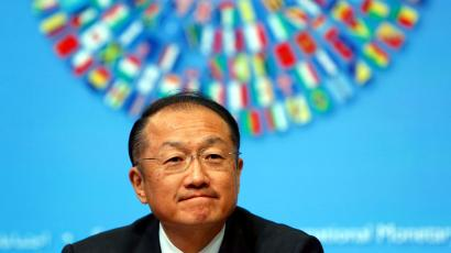 World Bank Group President Jim Yong Kim reacts during a news conference in Washington April 10, 2014. The 2014 Spring Meetings are currently underway.