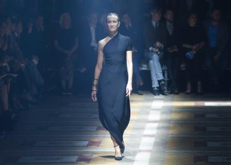 paris fashion week, older models, A model wears a creation for Lanvin's Spring/Summer 2015 ready-to-wear fashion collection, presented in Paris, France, Thursday, Sept. 25, 2014. (AP Photo/Jacques Brinon)