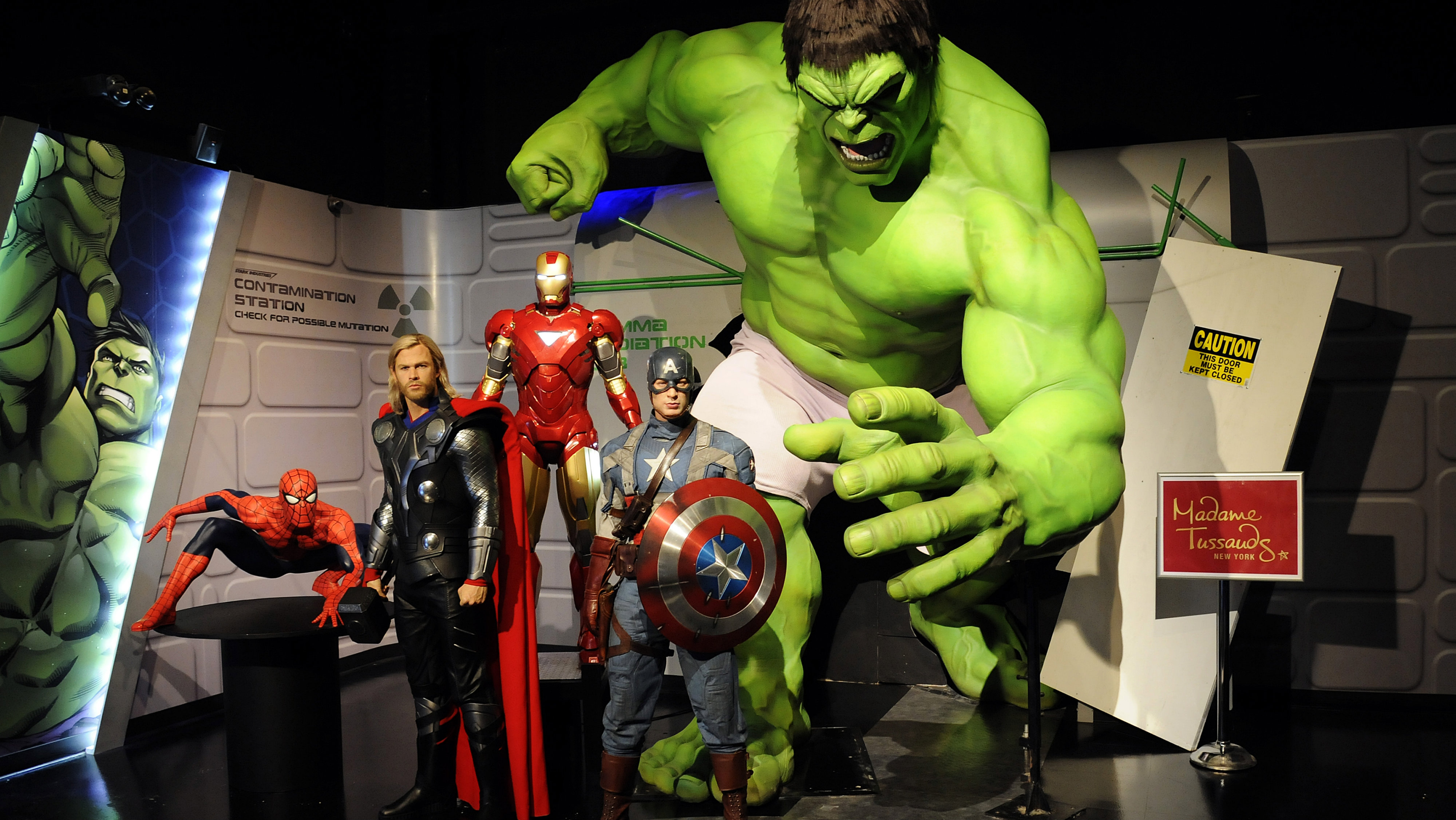 """Wax figures designed to look like characters from the Marvel Entertainment film """"The Avengers"""" are on display at the """"Marvel Superhero Experience"""" at Madame Tussauds wax museum in New York April 26, 2012."""