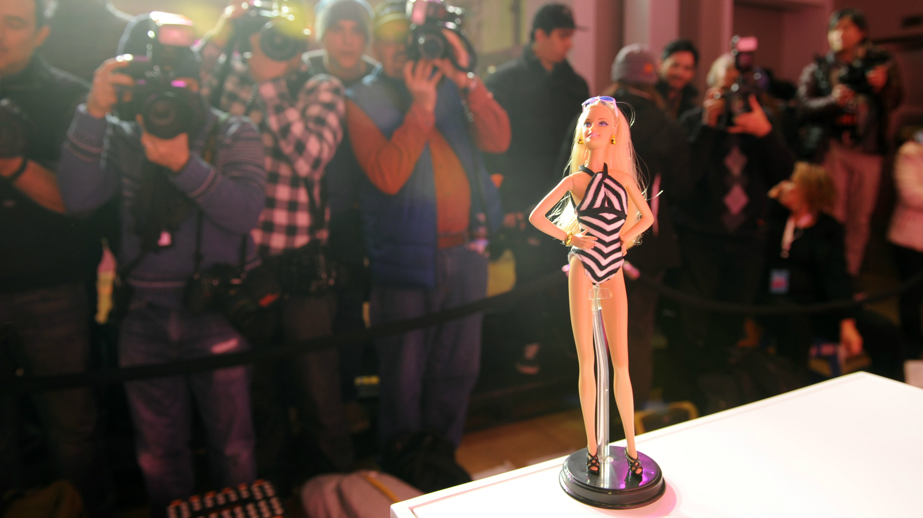 Barbie Doll attends the Barbie and Sports Illustrated Swimsuit 50th anniversary celebration of the Sports Illustrated Swimsuit legends on Monday, Feb. 17, 2014, in New York. (Photo by Diane Bondareff/Invision for Barbie/AP Images)