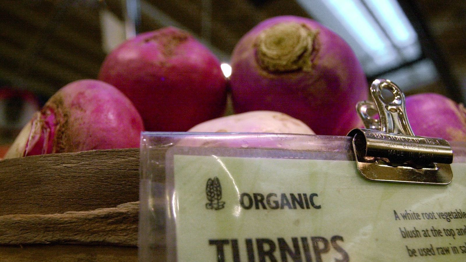 ** ADVANCE FOR WEEKEND EDITIONS NOV. 2-3 ** Organic turnips are clearly marked as they sit in a basket Wednesday, Oct. 30, 2002, at the Puget Consumers Co-op in Seattle's Greenlake neighborhood. Grocery stores are building barriers, pasting up warning labels and reorganizing storage units to keep organic and non-organic foods separate. New federal rules for organic certification require the establishment of a sort of Mason-Dixon line dividing the two, with penalties in some cases of up to $10,000 if food represented as organic is contaminated with non-organic compounds. (AP Photo/Elaine Thompson)