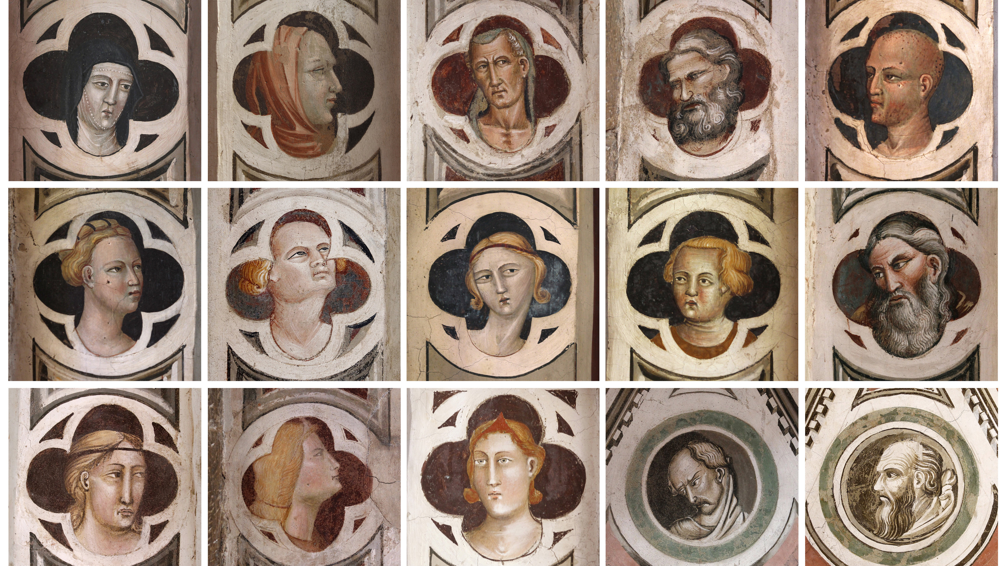 Combination picture of tiny faces that can be found on the 600-year-old Capella Maggiore frescoes at Florence's Santa Croce Basilica April 7, 2011. The tiny faces are not visible from the ground but after a five-year restoration, visitors will be able to climb the scaffolding to view the frescoes close up, instead of from 30 metres below at ground level. Picture taken April 7, 2011.