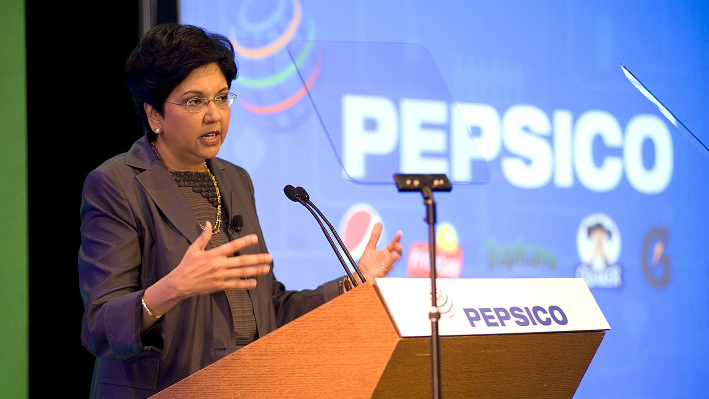 PepsiCo Chairman and CEO Indra Nooyi addresses the audience at PepsiCo's Annual Shareholders' Meeting today in Plano, Texas. (PRNewsFoto/PepsiCo)