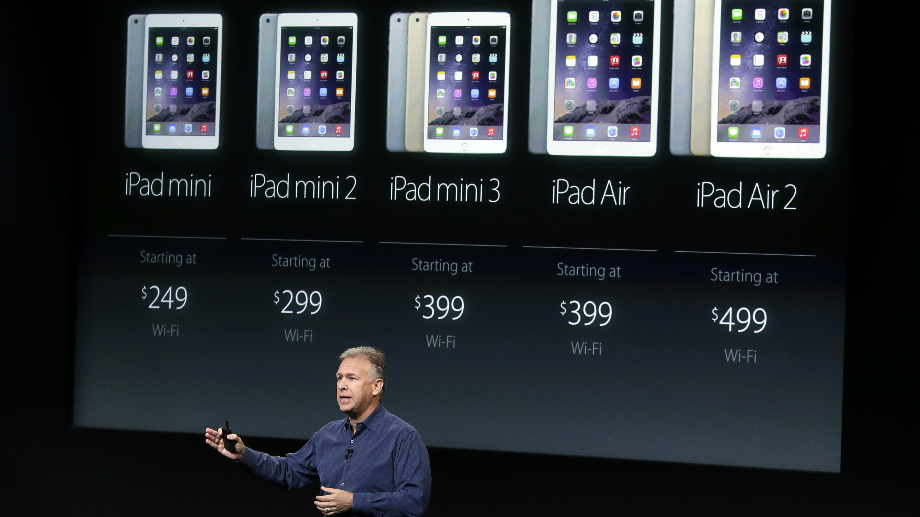 Phil Schiller, Apple's senior vice president of worldwide product marketing, discuss the pricing of the Apple iPad line-up during an event at Apple headquarters on Thursday, Oct. 16, 2014 in Cupertino, Calif. (AP Photo/Marcio Jose Sanchez)