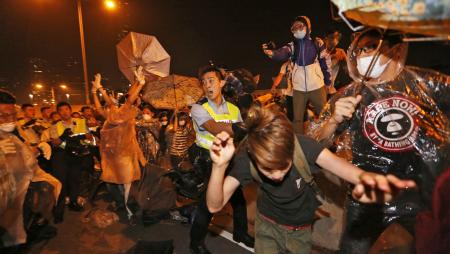 Police clashed with protesters occupying a road outside of government headquarters.