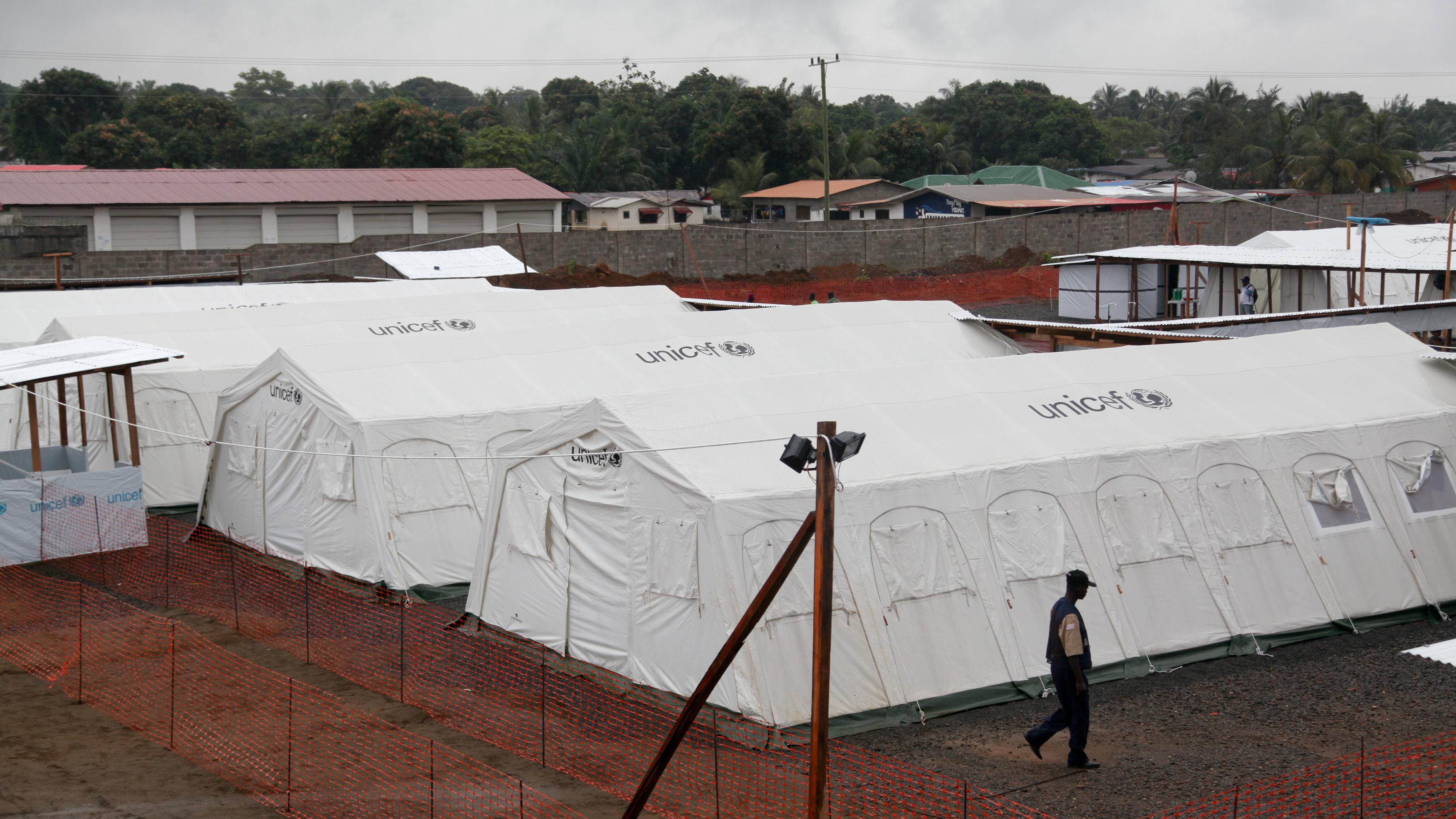 Quarantine tents in Liberia